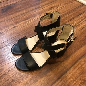 Brand New Black Leather Strappy Sandals